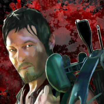 Daryl Dixon  Norman Reedus The Walking Dead Horror Television Art Work Print