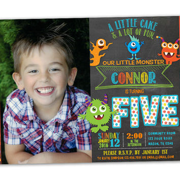 Photo Monster Birthday Invitations - Chalk Little Monster Party Invitation - 1st Birthday Monsters - 2nd 3rd 4th 5th Lil Monster Party