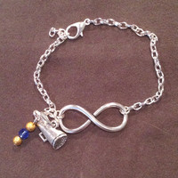 INFINITY Symbol with Silver Plated Chain Bracelet + 1 Metal & Bead Charm - Cheer Dance Graduate 2014 Theatre