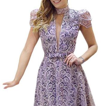 Purple Lace Overlay High Neck Skater Dress