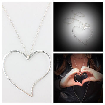 "Large Sterling Silver Heart 30"" Necklace"