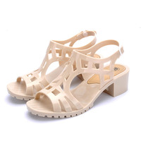 Summer Style Vintage Jelly Sandals Thick Heel Gladiator