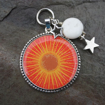 Sun Pendant Magnesite Moon and Star Charms Interchangeable Slide Pendant Cluster Change Your Style Change Your Energy Collection #CYS002