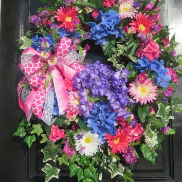 XL Bright Spring Summer Wreath, Spring Summer Door Wreath, Bright Pink Blue Purple Colors, Wreath