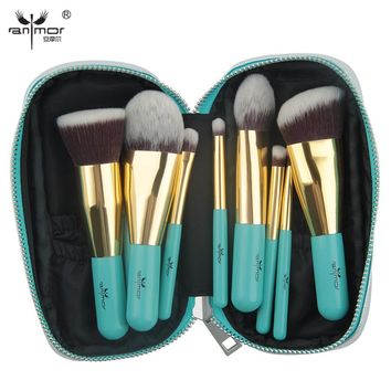 Anmor Travelling Makeup Brushes 9 PCS Synthetic Hair Makeup Brush Set With Portable Bag GM001