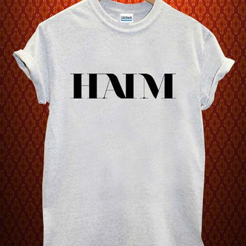 haim logo Music tee Ash Grey t Shirt Men and Women T Shirt more size available