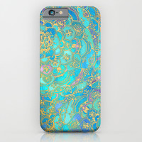Sapphire & Jade Stained Glass Mandalas iPhone & iPod Case by Micklyn