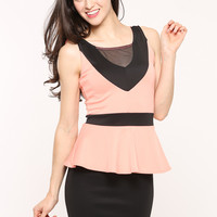 Two Tone Mesh Inset Peplum Dress