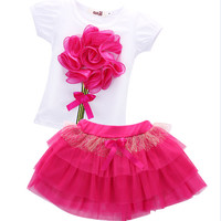 2pcs Flower Bow Tulle  Baby Party Tutu Skirts Summer Baby Kids Girls Clothes Sets Mini Tops T-Shirts Skirts New Pink 2 - 6 Years