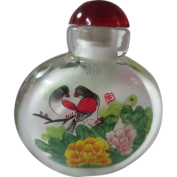 Rare Miniature Glass Snuff Perfume Bottle Love Birds Painted Double Sided Chinese Oriental Vintage