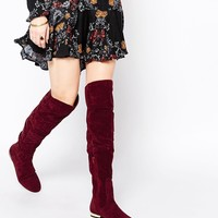 Daisy Street Oxblood Flat Over The Knee Boots