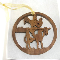 Cow, Rooster, And Chicken Farmyard Scene Christmas Ornament Handmade From Walnut Wood By KevsKrafts