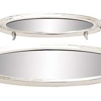 Traditional Inspired Stainless Steel Mirror Tray Set of Two
