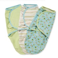 Summer Infant SwaddleMe Adjustable Infant Wrap, Dino Peek/Stripe/Sage, Boy, Small/Medium