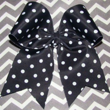 Black and White Polka Dot Cheer  Bow by isparklethat on Etsy