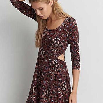 AEO Soft & Sexy Fit & Flare Dress, Burgundy