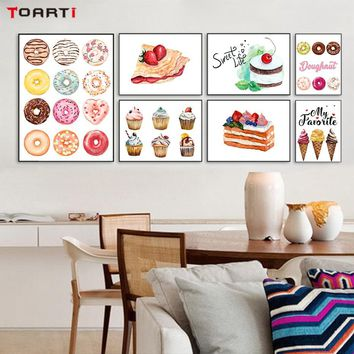 Colorful Delicious Ice Cream Cakes Canvas Painting Posters And Prints Wall Pictures For Living Room Kitchen Wall Art Home Decor