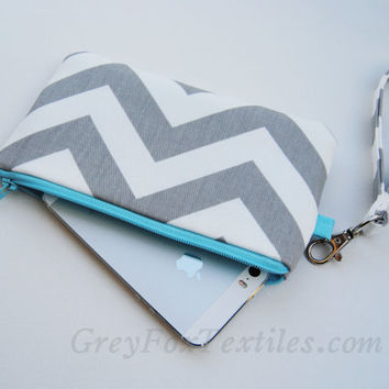 Chevron wristlet in gray and bright blue, clutch, iPhone sleeve, smartphone wallet, camera case