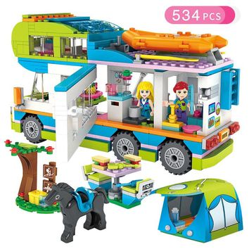 Friends Series Heart Lake City Girls Club Street Building Blocks Pink Cake Cafe Blue Camper Compatible Legoings Friend Toys Gift