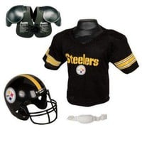 DCCKWV6 Pittsburgh Steelers Youth NFL Helmet and Jersey SET with Shoulder Pads