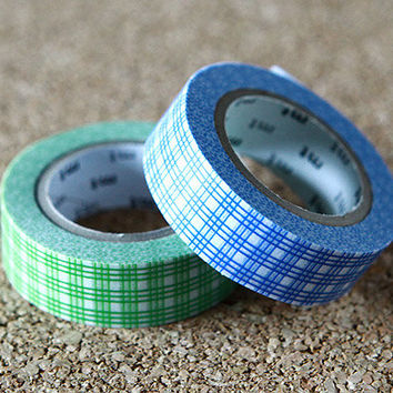 Grid Design, Japanese Washi Paper Masking Tape, 2 Rolls Set - mt Deco, Green & Blue, Scrapbooking, Collage, Gift Wrapping, Decor Art Sticker