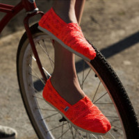 TOMS Natural Crochet Classics Flats Fashion hollow Summer Sexy Loose Shoes Orange