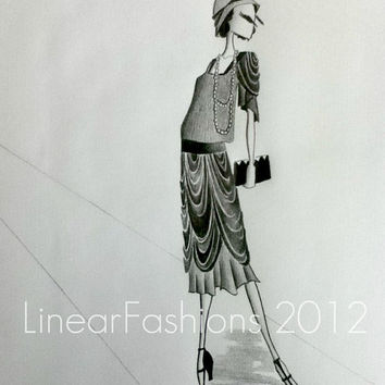 1920s Flapper Fashion Illustration Art Deco Style Original Illustration Pencil Drawing
