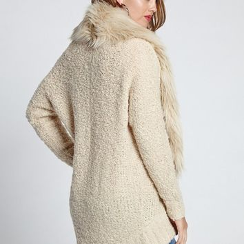 Long-Sleeve Faux-Fur Cocoon Cardigan | GUESS.com
