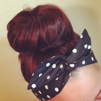 White on Black Polka Dot Dolly Bow Headband