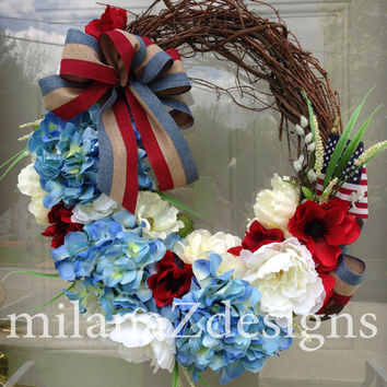 Fourth July Wreath, Americana Decorations, Patriotic Hydrangea, Veteran's Day, Memorial Day Wreath, Country Wreath, Floral Wreath Decor