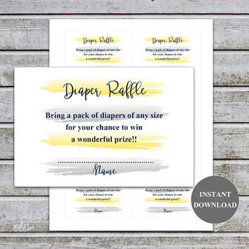 Diaper Raffle Ticket Cards Printable Baby Shower Games Diaper Raffle Insert for Neutral Baby Shower invitations Instant Download (87-2B)