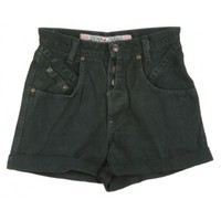 Rokit Recycled Green Denim Turn Up Shorts W24 | Rokit Recycled | Rokit Vintage Clothing