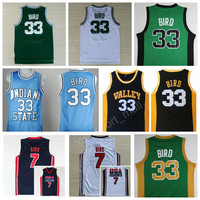 Cheap 33 Larry Bird Basketball Jerseys 1992 USA Dream Team One Springs Valley Indiana State Sycamores College High School Green White Blue