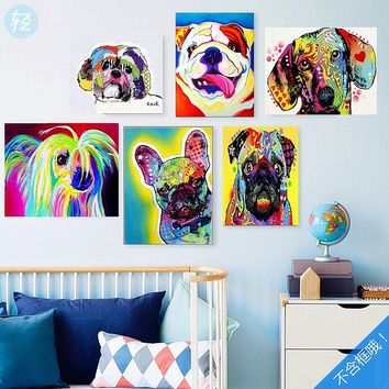 Colorful cute dog Printed Oil Painting Wall Art Painting Home Decorative Picture For Living Room Wall Paintng(No Frame)