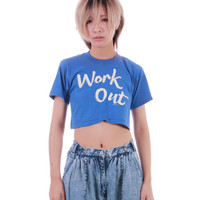 Super Soft 1982 Work Out Crop Top Blue and White Short Sleeve T Shirt Hipster 90s Vintage Clothing Womens Size XS