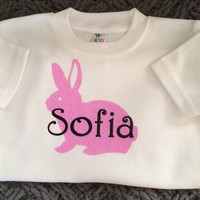 Bunny & Name Personalized Childrens TShirt, Custom shirts, Toddler name shirt, Toddler personalized, Flowergirl gifts, Easter gifts