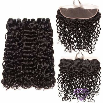 Brazilian Water Wave Hair Extensions 3 Bundles With Lace Frontal