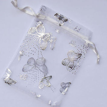 White Butterfly Organza Gift Pouch Wedding Favour Bags 5x7cm - Choose QTY !!