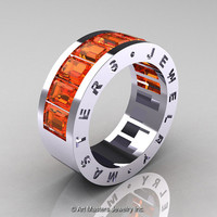 Mens Modern 14K White Gold Orange Sapphire Channel Cluster Wedding Band R174RM-14WGOS