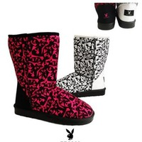Womens Casual Comfort Mid Calf Pull On Flat Playboy Bunny Print Boots Fuchsia , 5-10