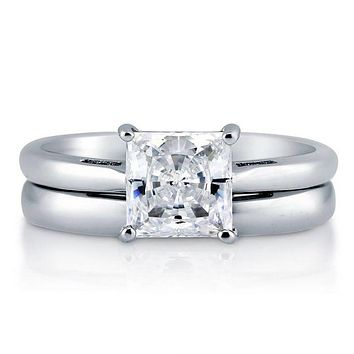 1.7CT Princess Cut Russian Lab Diamond Solitaire Bridal Set