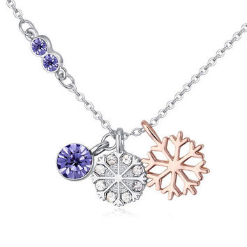 New snowflower Necklace Pendants Crystal 2017 Fashion from Swarovski wedding party Jewelry Trendy Bijouterie For Women -03327