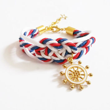 4th of July , Red/white/blue infinity knot rope bracelet, tie the knot ,friend gift , rope bracelet , sailor bracelet