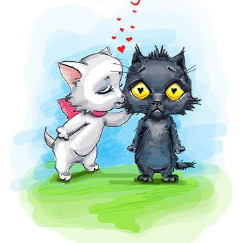 "Cats. Valentines. Printable greeting card, Instant Download 5 x 7"" JPG file, I like you. Funny sketch drawing."