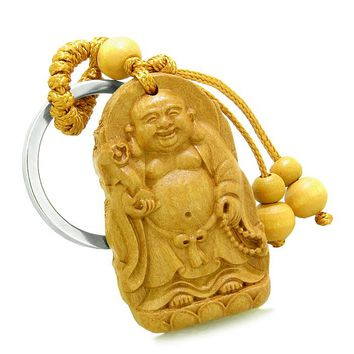 Amulet Laughing Buddha Blooming Lotus Magic Protection Powers Charms Feng Shui Keychain Blessing