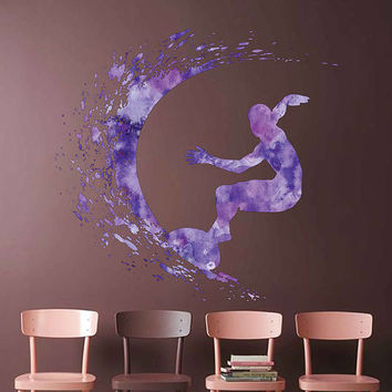 cik1880 Full Color Wall decal Watercolor Surfer wave surfing living room children's room