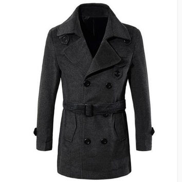 Top Fashion Brand Winter Mens Slim Jackets Lapel Mens Double Breasted Stylish Peacoats Business Wool Coat High Quality Trench