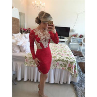 Red Long Sleeve Cocktail Dresses Short Graduation Dresses With Beaded Appliques 2015 New