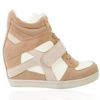 tri color sneaker wedge with mesh inset - debshops.com