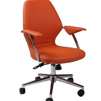 Ibanez Office Chair in chrome/aluminum upholstered in Pu Orange